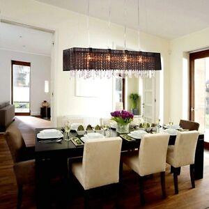 Image Is Loading Modern Rectangular Dining Room Crystal Chandelier Shade Pendant