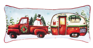 """SANTA/'S RIDE Red Truck /& Camper Christmas Pillow 22/"""" x 10/"""" by Ganz"""