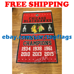 Chicago-Blackhawks-Stanley-Cup-Champions-Flag-Banner-3x5-ft-2019-NHL-Hockey-NEW