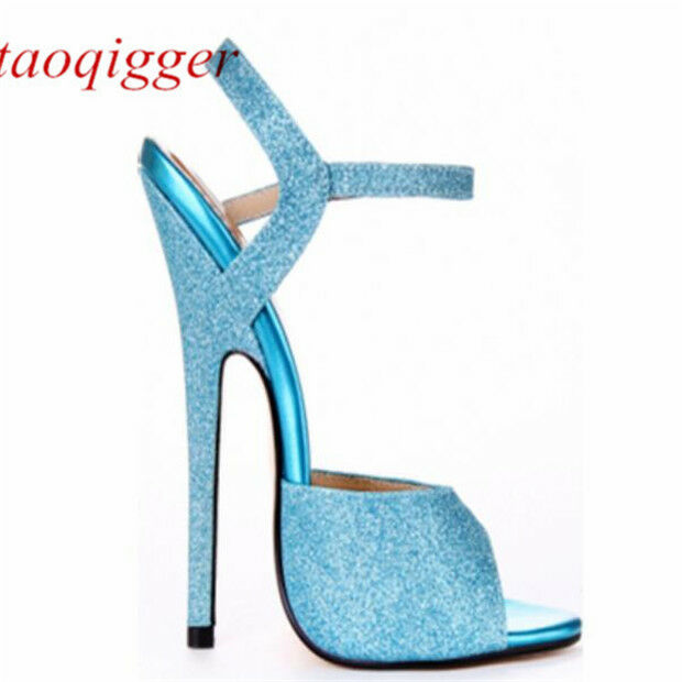Women 16cm Pointed stiletto sexy T-stage show sandals Hook Fastener Runway shoes