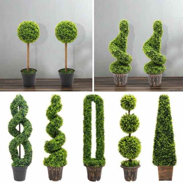 2Pcs  Boxwood Topiary Spiral Tree Large Artificial Realistic Tree Indoor Outdoor