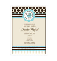 Blue Baby Shower Personalized Baby Shower Invitations - Set Of 16