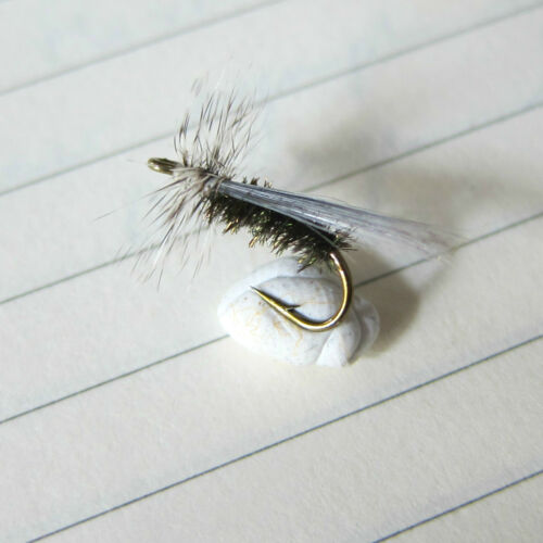 Lot 3 Mouche pêche truite Sedge Poil Cerf Pesca Mosca Tricoptero negro H 12 14