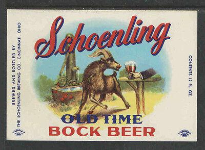 Schoenling Old Tyme Bock Beer Bottle Label Cincinnati