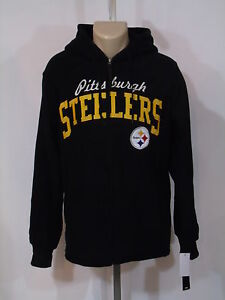 san francisco 4d6eb 5c7cd Details about PITTSBURGH STEELERS MENS FLEECE JACKET X large BLACK  EMBROIDERED FULL ZIPP NWT!!