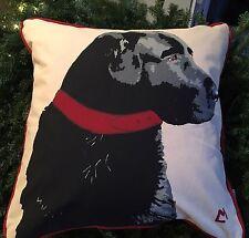 "CHANDLER 4 CORNERS sailcloth pillow 18"" Black Lab Dog Labrador Canvas"