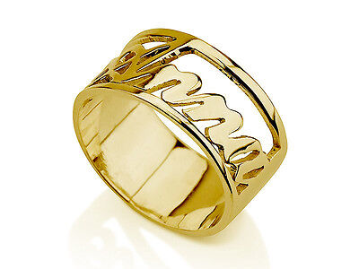 10k Solid Yellow Gold Gleaming Open Design Personalized Name Ring