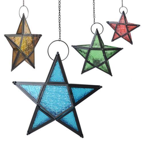 Metal Glass Star Lantern Hanging Candle Holder Ative Wedding Party Xmas Decor