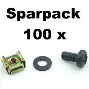 Unterlegscheibe 50 X Rackschraube M6 X 12 Käfigmutter Für Stahl Rackschiene Goods Of Every Description Are Available
