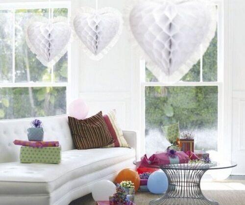 30cm en nid d/'abeille en forme de coeur et décorations Mariage Fête Bébé