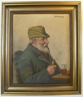 Nachdenklich Ölbild Ölgemälde Bauer Landmann Alter Mann Österreich Signiert Klingsbögl Um1910 Modernes Design Sonstige Malerei