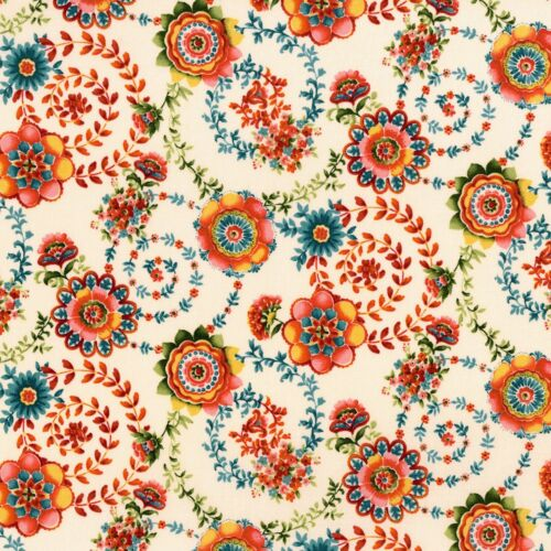 Fabric Flowers Boreaux Swirly Vines Paisley on Cream Cotton by the 1//4 yard BIN