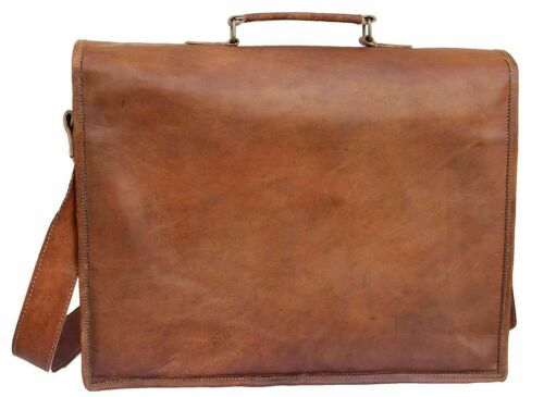 Men/'s Real Tan Leather Vintage Brown Messenger Shoulder Laptop Bag Briefcase