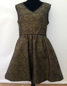 New-BNWT-RRP-75-Warehouse-Black-Gold-Sparkle-Fit-amp-Flare-Party-Dress-Fits-12-14