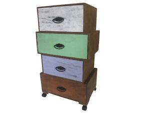 vintage kommode mit 4 schubladen schrank auf rollen retro shabby sideboard ebay. Black Bedroom Furniture Sets. Home Design Ideas