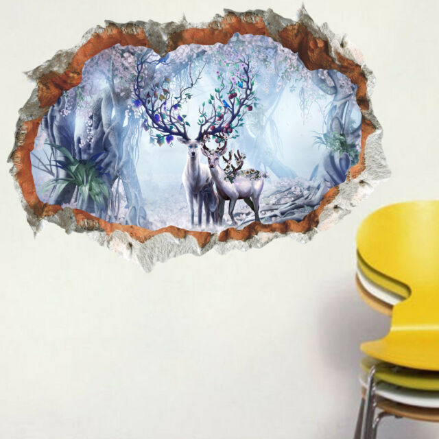3D Forest Deer pictorial decal  DIY Wall Decals sticker Living Room  27x19