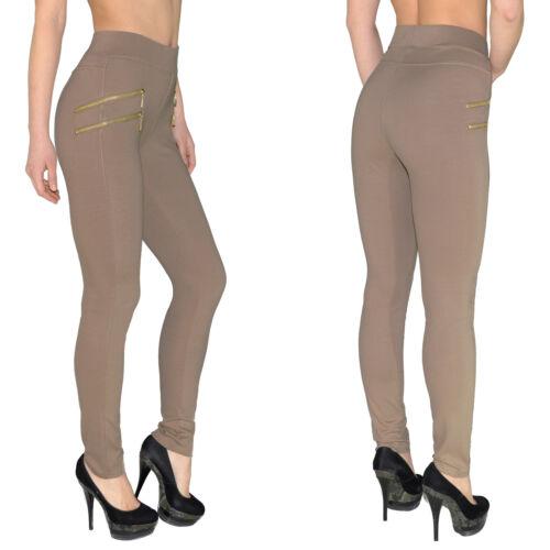 Damen Hose Treggings Jeggings Stretch Hose Röhre mit Zipper bis Übergröße J189