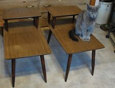 VINTAGE MID CENTURY MODERN 2 TIER WOOD  END TABLES, SIDE TABLES NICE CLEAN