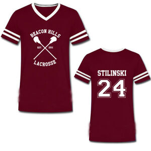 f49393342186be BEACON HILLS LACROSSE V-NECK T Shirt Top Wolf Stiles Stilinski Teen ...