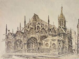 PARIS PAYSAGE. DE TIRAGE D'ENCRE SUR LE PAPIER. A. GUERIN. XXE SIÈCLE.
