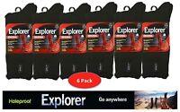 6 Pair Pack Genuine Holeproof Explorer Wool Blend Mens Work Socks 6-10 & 11-14