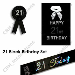 Image Is Loading Black 039 21 Today Sash 21st Birthday