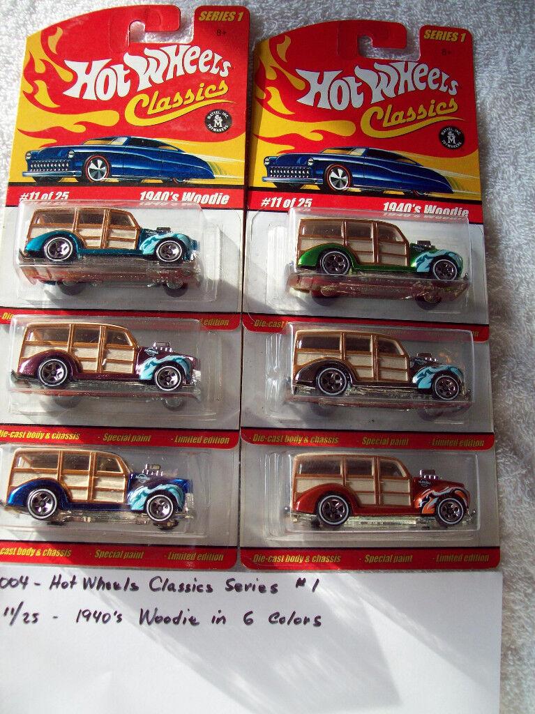 2004 Hot Wheel Classics Series 1 11 25 1940's Woodie 6 Car Set in 6 colors