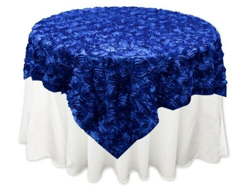 "10 Rosette Satin Overlays Royal Blue 54""x54"" Tablecloths Table Cover Ribbon Rose"