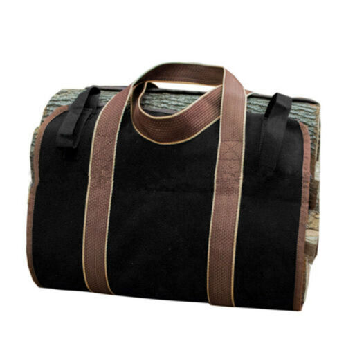 Black Log Carrier Tote Firewood Holders Canvas Large Carry Bag Carrying Woods
