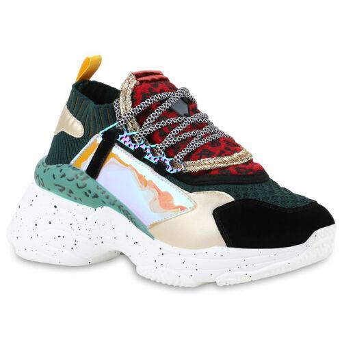 Damen Plateau Sneaker Keilabsatz Metallic Schnürer Lack Schuhe 899456 Top