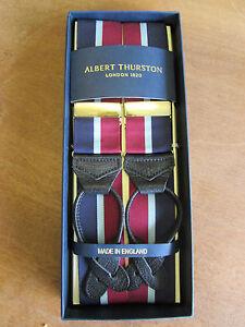 ALBERT THURSTON STRIPE LEATHER END BRACES RED//YELLOW STRIPE