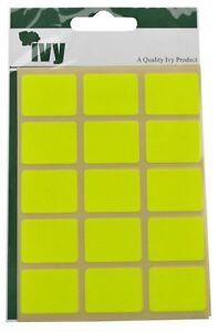IVY-Fluoreszierend-Gelb-Etikett-Sticker-Klebend-Selbstklebend-19x25mm-Rechteck