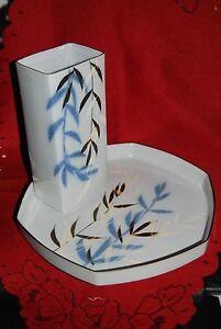 Royal-Copenhagen-Denmark-Vase-und-Tablett-Schale-im-Set