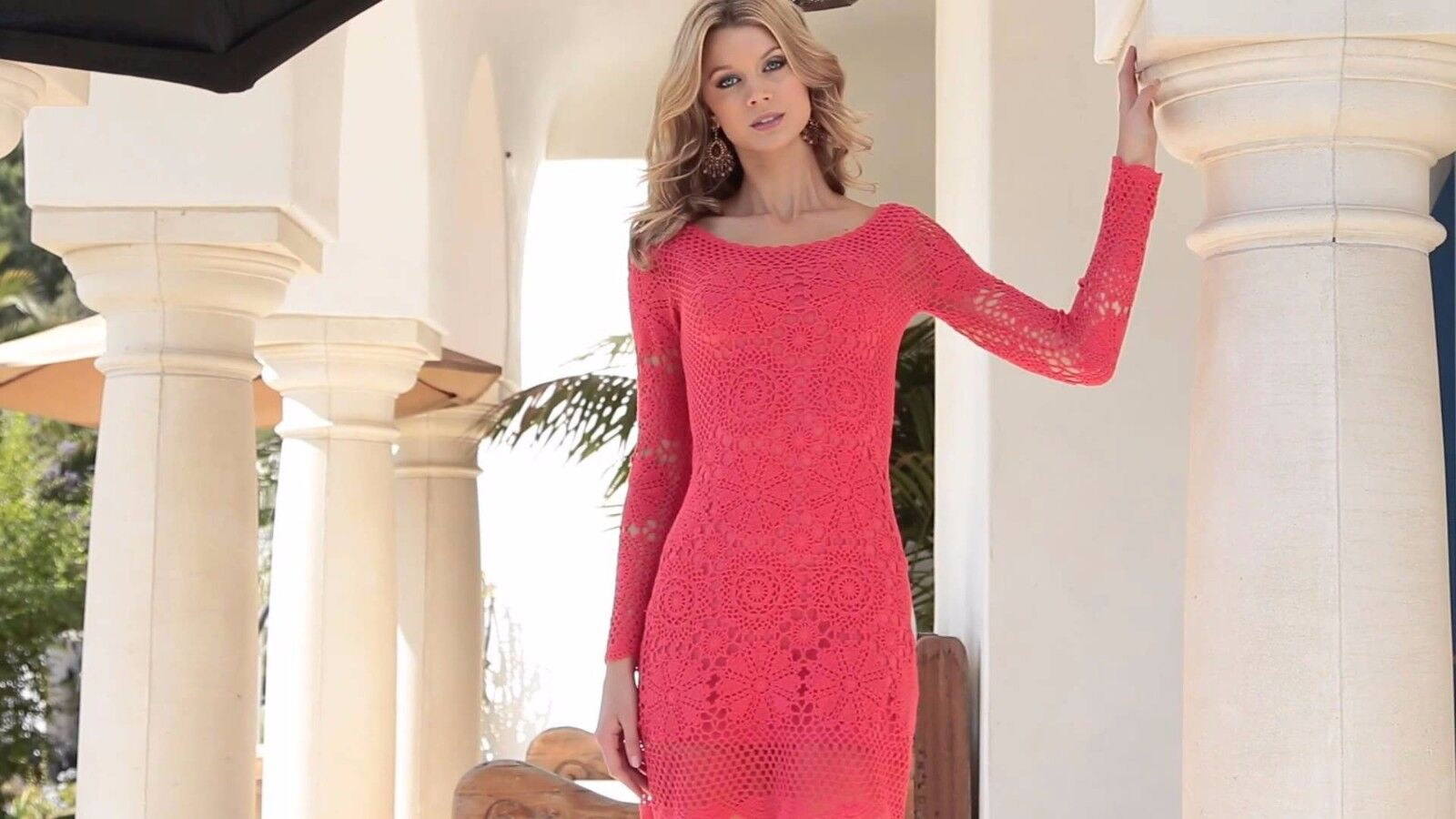 Boston Proper Coral Crochet Lace Illusion-Sleeve Dress Boho Bohemian Romantic S