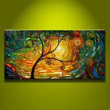 MODERN ABSTRACT OIL PAINTING ON CANVAS Handcraft Wall Art Tree 24x48in(No Frame)