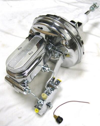 """Milled Master Disc Disc Kit Chevy Full Size Car 9/"""" Chrome Power Brake Booster"""