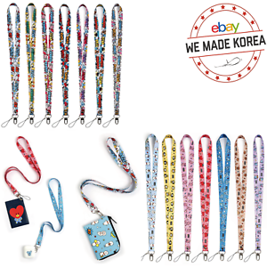 BT21 Character Neck Strap Keychain Phone Card Holder 2types Official K-POP Goods