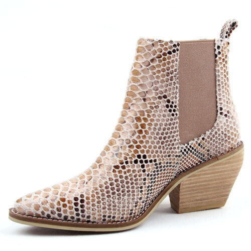 Womens Snakeskin Print Pointy Toe Chunky Heel Cowboy Leather Chelsea Ankle Boots