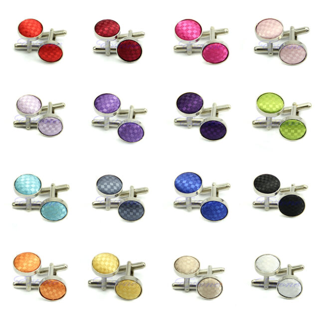 New Fashion Vintage French Solid color grid Round Wedding Gift Men's Cuff Links