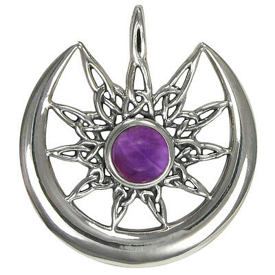 Sterling Silver Celtic Knot Sun Burst and Crescent Moon with Amethyst Gemstone
