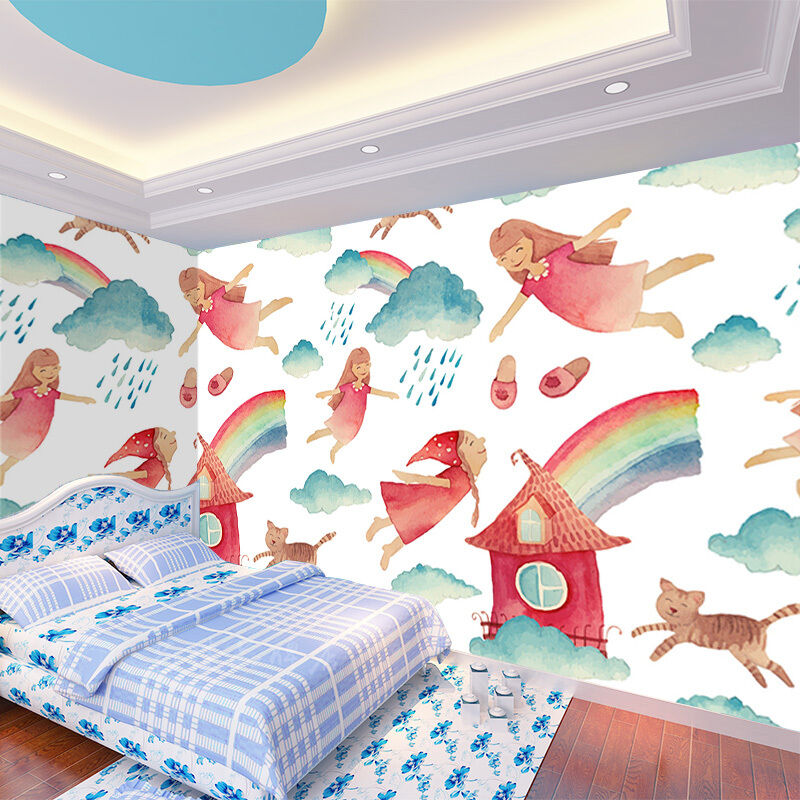 3D rainbow girl Wall Paper wall Print Decal Wall Deco Indoor wall Mural