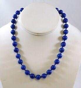 Vintage-Ciner-Faux-Lapis-Lazuli-Necklace-Blue-Gold-Glass-Beads-Rhinestone-Clasp