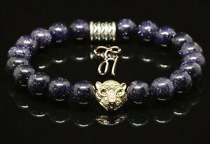 Blaufluss-blau-goldfarbener-Tigerkopf-Armband-Bracelet-Perlenarmband-8mm