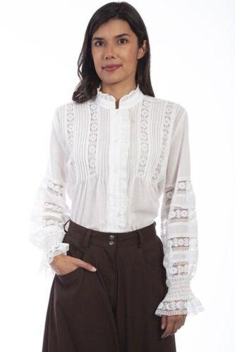Edwardian Blouses |  Lace Blouses, Sweaters, Vests   Scully Lace Floral Crochet Blouse. 2 Colors!  AT vintagedancer.com