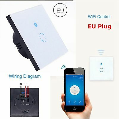 EU Sonoff WIFI Wireless wall Light Touch Switch Glass Panel LED Light controller