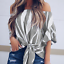 New-Womens-Striped-Loose-Sexy-Off-Shoulder-Blouse-Tops-Baggy-Casual-T-Shirt-Top thumbnail 7