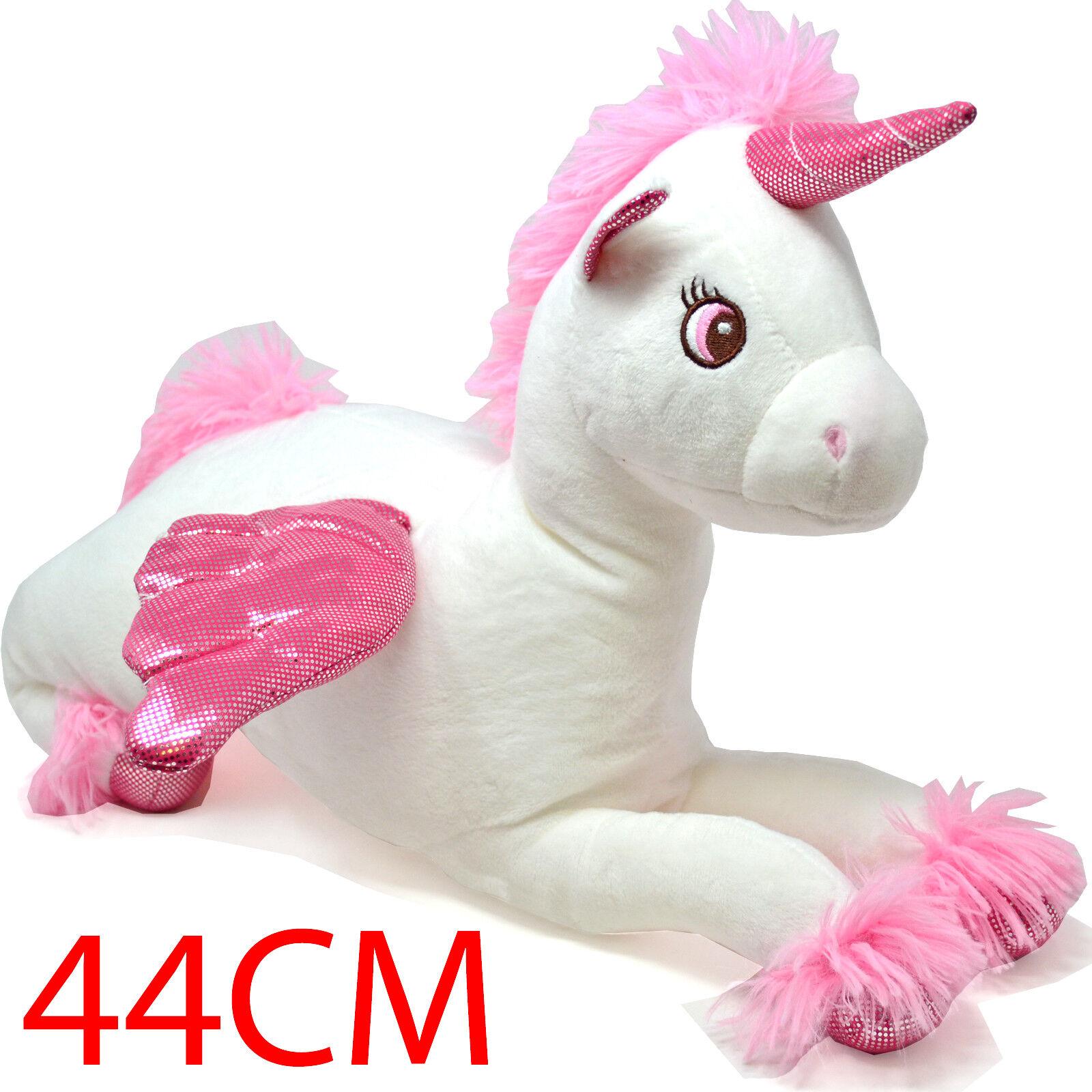 44CM MAGICAL WHITE PLUSH UNICORN PONY STUFFED ANIMAL TOY GIRLS SOFT XMAS GIFT