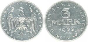 Weimar/Ersatzmünzen 3 Mark 1922A Xf-Bu From Polished Plate