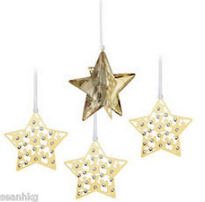 Swarovski Christmas Set Star, Ornament Crystal Golden Shadow MIB - 1143399