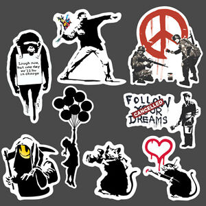 8x banksy sticker set vinyl graffiti street art stencil. Black Bedroom Furniture Sets. Home Design Ideas